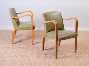 PAIR OF THONET BENTWOOD AND VINYL ARMCHAIRS