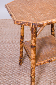 BAMBOO AND RATTAN SIDE TABLE