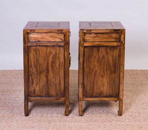 PAIR OF CHINESE HARDWOOD SIDE CABINETS