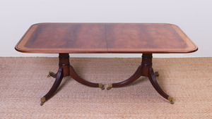 GEORGE III STYLE INLAID MAHOGANY SATINWOOD CROSSBANDED DOUBLE-PEDESTAL DINING TABLE