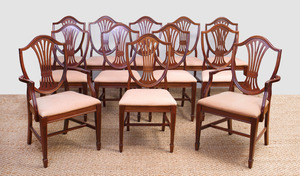 SET OF TWELVE GEORGE III MAHOGANY STYLE SHIELD-BACK DINING CHAIRS, MANUFACTURED BY STATESVILLE ROSS