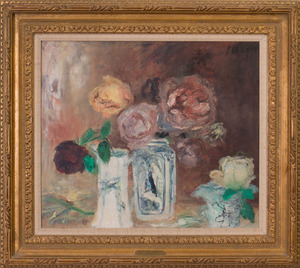 JEAN POLLET (b. 1929): DEUX VASES DE ROSES