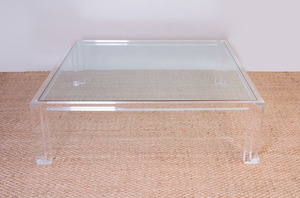 CONTEMPORARY PERSPEX AND GLASS LOW TABLE