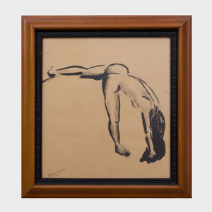 20th Century School: Nude Woman Stretching
