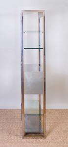 CHROME-PLATED, BRASS AND GLASS BOOKSHELF