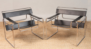 SET OF FOUR CHROME AND BLACK LEATHER 'WASSILY' CHAIRS, OF RECENT MANUFACTURE