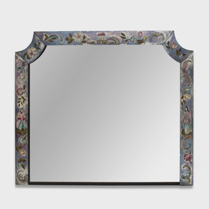 Chinoserie Verre Églomisé Overmantle Mirror
