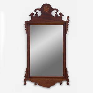 Chippendale Style Inlaid Mahogany Mirror