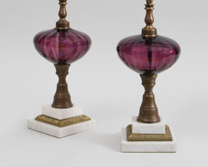 Pair of American Amethyst Glass, Brass and Carrara Mable Oil Lamps
