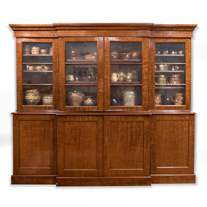 Classical Style Mahogany Breakfront Bookcase Cabinet