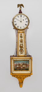 Federal Brass-Mounted Mahogany and Parcel-Gilt Banjo Clock