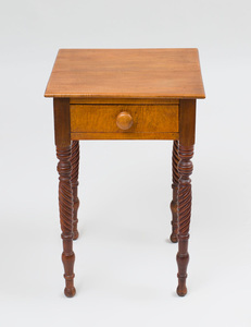 Late Federal Mahogany and Tiger Maple Work Table