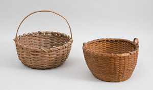 American Splint Wood Basket and Another Splint Wood Two-Handled Basket