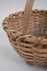 American Splint Wood Basket and Another Splint Wood Two-Handled Basket