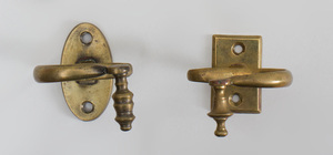 Pair of Federal Style Brass Fire Tools and a Pair of Brass-Plated Short Tongs
