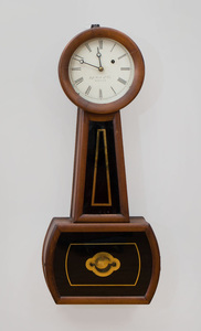 Late Federal Mahogany Banjo Clock, Retailed by J.J. Beals & Co., Boston, Massachusetts