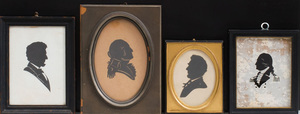 Two Lithographic Silhouette Profiles of Abraham Lincoln, a Cut-Out of George Washington, and a Reverse Glass Bust of Washington