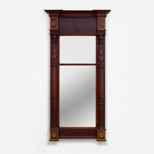 Late Federal Brass-Mounted Mahogany Pier Mirror