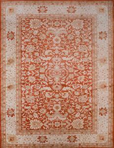 Indian Mahal Design Orange Ground Carpet