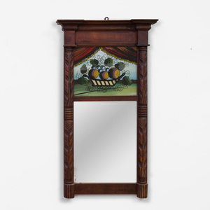 Federal Style Mahogany and Verre Églomisé Mirror