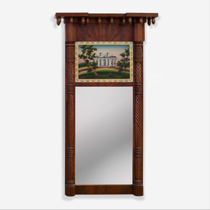 Federal Carved and Veneered Mahogany and Églomisé Pier Mirror