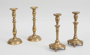 Pair of Bell-Metal Vase-Turned Candlesticks and a Pair of Candlesticks with Scalloped Bases