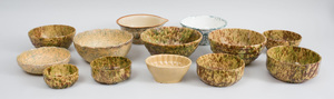 Assorted Group of Thirteen Tortoiseshell and Other Glazed Pottery Bowls