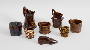 Eight Rockingham Type Glazed Pottery Articles