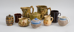 Group of Bennington Type Tortoiseshell Glazed Pottery Articles and Five Other Pieces