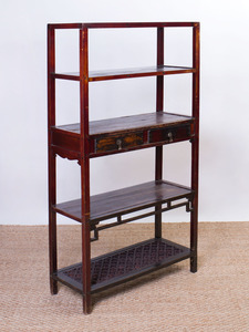 CHINESE HARDWOOD FOUR-TIERED ÉTAGÈRE