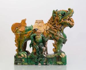 CHINESE SANCAI GLAZED POTTERY TEMPLE GUARDIAN