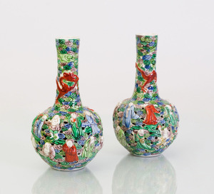 PAIR OF CHINESE FAHUA STYLE PORCELAIN BOTTLE VASES