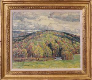 DINES CARLSEN (1901-1966): LANDSCAPE - OIL SKETCH