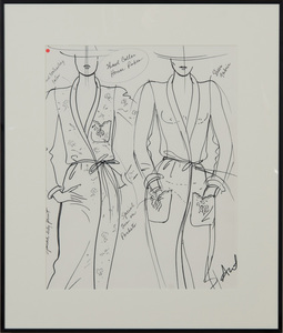 ANTONIO LOPEZ (1943-1988): SHAWL COLLAR HOUSE ROBE; HALF SLIPS; EYELET/PICOT EDGE CAMISOLE; AND FULL SLIP
