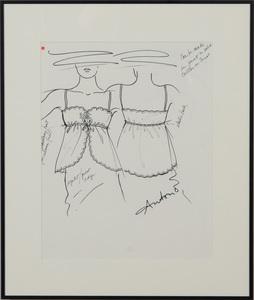 ANTONIO LOPEZ (1943-1988): SHAWL COLLAR HOUSE ROBE; HALF SLIPS; EYELET/PICOT EDGE CAMISOLE; AND FULL SLIP