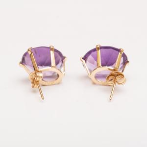 Pair of 14k Gold and Amethyst Earrings