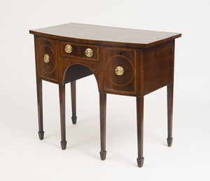 GEORGE III INLAID MAHOGANY BOW-FRONTED SIDEBOARD