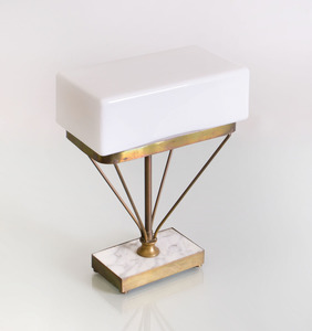 MID-CENTURY MODERN MARBLE AND BRASS TABLE LAMP