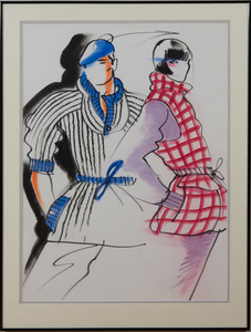 ANTONIO LOPEZ (1943-1988): FASHION SKETCH, TWO FIGURES