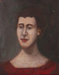 AMERICAN SCHOOL: PORTRAIT OF A LADY IN RED