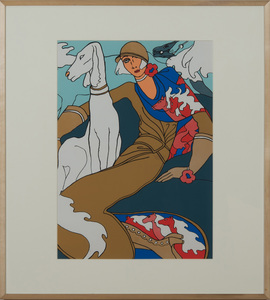 ANTONIO LOPEZ (1943-1988): BRUNETTE WITH BLUE CAT; AND SEATED WOMAN WITH DOG