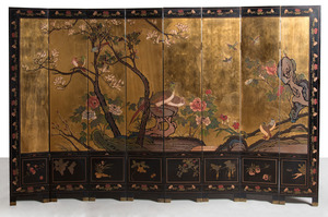 CHINESE LACQUER AND GOLD LEAF EIGHT-PANEL SCREEN