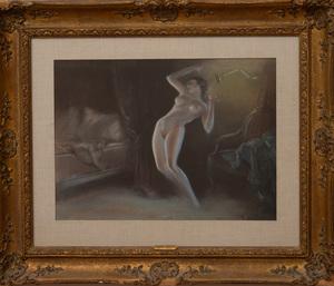 EVERETT SHINN (1876-1953): NUDE IN BEDROOM