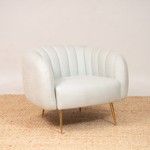 JONATHAN ADLER BRASS AND BOUCLE-UPHOLSTERED 'POMPIDOU' CHAIR