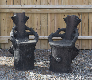 PAIR OF CLAYTON POTTERY STUMP-FORM GARDEN CHAIRS