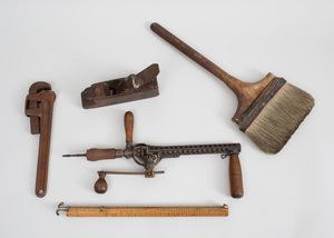 Group of Three Carpenter's Tools, a Brush, and a 'Wet and Dry' Galls Measure