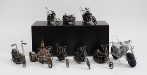 Group of Nine Metal and Wire Motorcycle Models by Jerry Schwartz