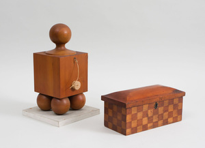 Cedar Block-Form Vessel with Cylindrical Plunger, Cork Stopper and Ball Feet, and a Checker Inlaid Box