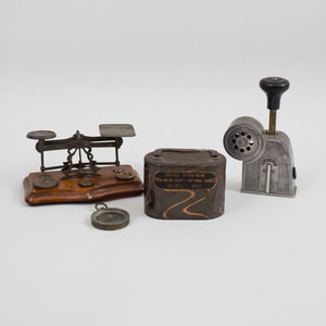 Multipost Mailer's Stamp Affixer, An English Brass-Mounted Postal Scale, a Metal Franklin County National Bank Savings Box and a Small Compass