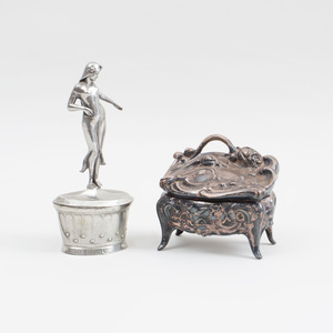 Silvered Metal Box in the Form of a Louis XV Bombé Commode and a Silvered Metal Ash Tray with Cover Modeled as a Nymph